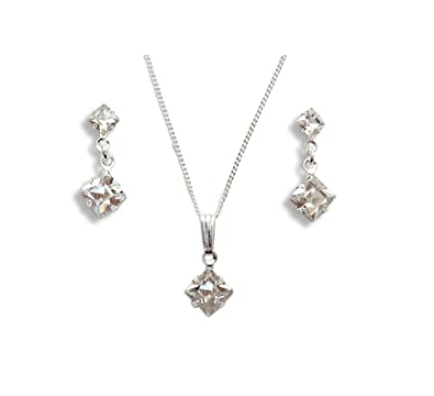 606fdcb3a Clip On Earrings - Square Crystal Earring & Pendant Set - Swarovski  Jewellery - Luxury Ladies Gift - Ladies Present - Wedding Jewellery: LJ  Designs and Oaks ...