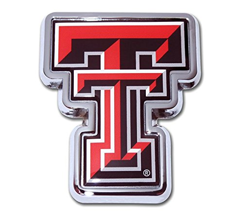 Texas Tech University Red Raiders METAL Auto Emblem - Many Different Colors Available! (Logo domed with Colors)