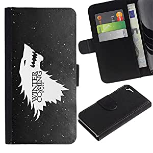 A-type (Enfriar lobo Águila próximo invierno Nieve Divertido) Colorida Impresión Funda Cuero Monedero Caja Bolsa Cubierta Caja Piel Card Slots Para Apple iPhone 5 / iPhone 5S