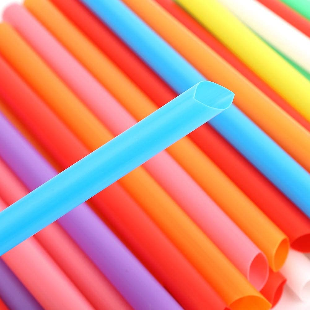 Cannucce monouso e riutilizzabili in plastica da 100 pezzi con cannucce larghe con colore misto per frullato di t/è al latte