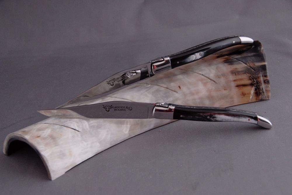 Laguiole en Aubrac 1 piezas, cuchillos Brillant, cuerno Noir, artesanal fabricado en Francia: Amazon.es: Jardín