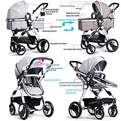 Belecoo Baby Stroller for Newborn and Toddler - Convertible Bassinet Stroller Compact Single Baby Carriage Toddler Seat Stroller Luxury Stroller with Cup Holder (Linen Grey)