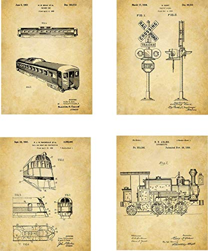 t Prints - set of Four (8x10) Unframed - wall art decor for locomotive lovers ()