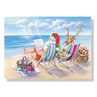 santa and reindeer beach break christmas cards 18