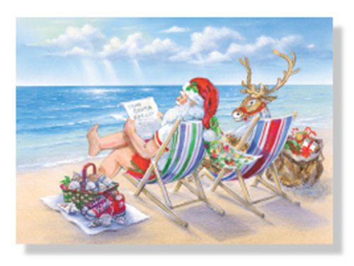 Christmas Cards - Box Set 18 Cards and 18 Envelopes - Santa Beach Break - Santa and His Reindeer Taking a Break on the Beach to Review the Gift List