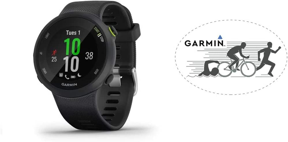HRM Garmin Forerunner 45 GPS Running Watch Black Bundle with 6x4 Oval Car Magnet