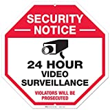 24 Hour Video Surveillance Sign, Large Rust Free 12x12 Aluminum, For Indoor or Outdoor Use - By ARMO
