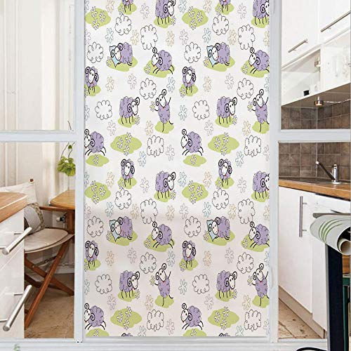 Decorative Window Film,No Glue Frosted Privacy Film,Stained Glass Door Film,Cute Sheep with Clouds Constructed out of Dots Happy Animals Child Friendly Print Decorative,for Home & Office,23.6In. by 59