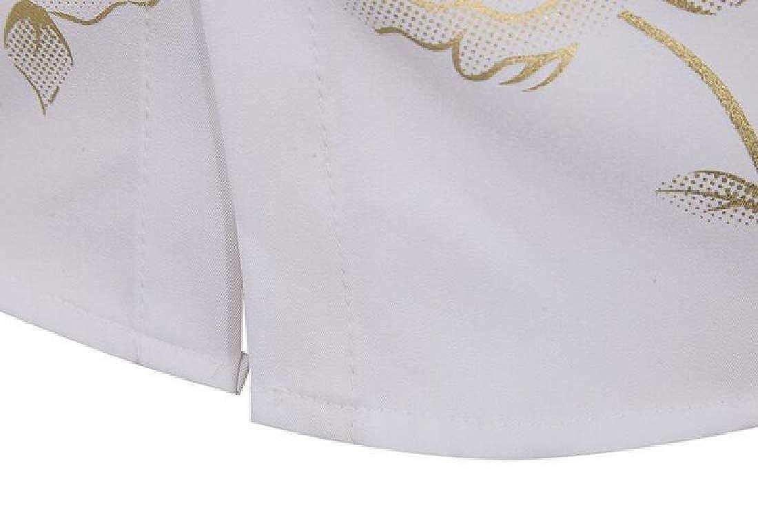 Zantt Mens Regular Fit Flower Printing Clubwear Long Sleeve Button Up Dress Shirt Top