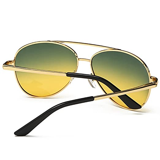 NBHUZEHUA Day Night Vision Glasses Polarized Sunglasses for Driving Anti Glare Yellow Lens Gold Frame leH6n21Q