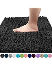 Yimobra Luxury Chenille Bath Mat, Soft Shaggy and Comfortable, Large Size, Super Absorbent and Thick, Non-Slip, Machine Washable, Perfect for Bathroom (80 x 50 cm, Dark Gray)