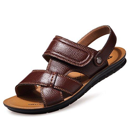 Xing Lin Sandalias De Hombre Los Hombres Sandalias Y Zapatillas De Verano Sandalias Antideslizantes Transpirables Outdoor Home Palabra Zapatillas Para Hombres Marea brown