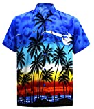 #9: La Leela Men's Regular Fit Camp Palm Tree Short Sleeves Button Down Hawaiian Shirts Aloha