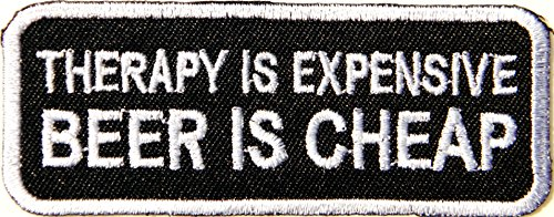 THERAPY IS EXPENSIVE BEER IS CHEAP Alcoholic Beer Whisy Skull Ghost Funny Motorcycles Biker Rider Chopper Punk Rock Tatoo Jacket T-shirt Patch Sew Iron on Embroidered Sign Badge Costum Gift