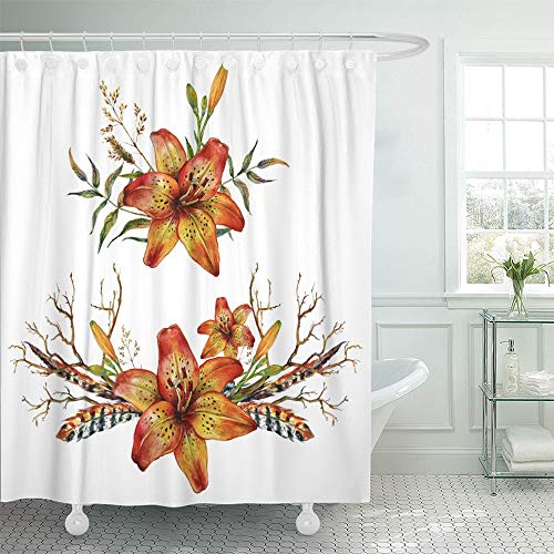 Emvency Shower Curtain Waterproof Adjustable Polyester Fabric Watercolor Tiger Lily Bouquet of Feathers Branches and Wild Herbs White 72 x 72 Inches Set with Hooks for Bathroom (Lily Tiger Drapes)