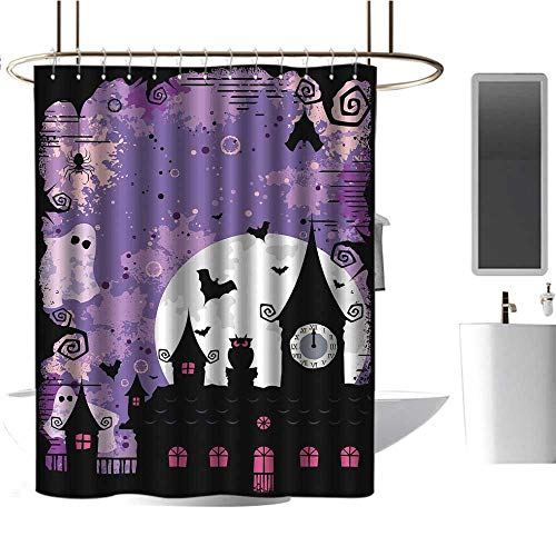 TimBeve Shower Curtain Hooks Vintage Halloween,Halloween Midnight Image with Bleak Background Ghosts Towers and Bats,Purple Black,Hand Drawing Effect Fabric Shower Curtains 72