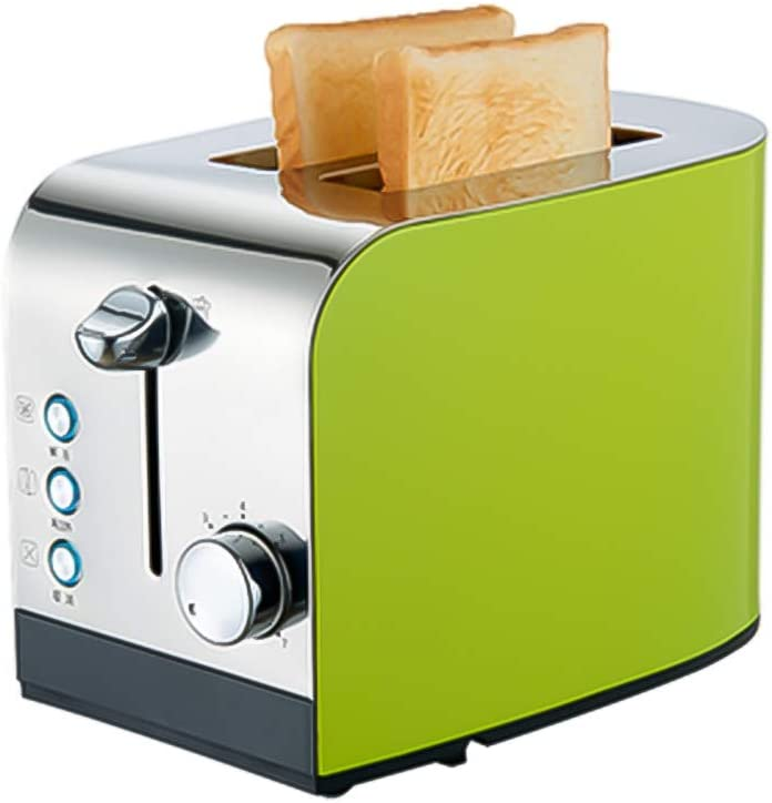 2-Slice Toaster,Wide Slot Stainless Steel Bread Toaster,6 Bread Shade Settings,defrost Reheat Cancel,Removable Crumb Tray,high-Lift Green 28.6cm