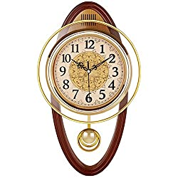Retro Wall Swing Pendulum Clock, Living Room Vintage Silent Decorative Wall Clock Accurate No Ticking Sound Quartz Movement-Oval 46276cm