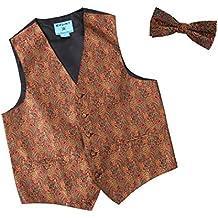 Epoint EGE2B.01 Multiple Colors Paisley Microfiber Vest Pre-Tied Bow Tie Set by