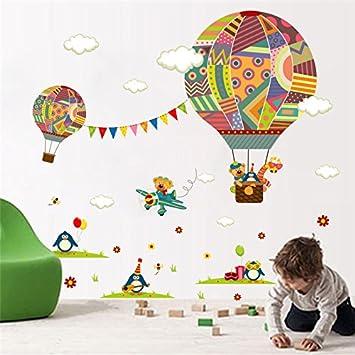 Sticker Bunten Heißluftballon Wald Tiere Kinderzimmer Wall Bär Giraffe  Kinder Zimmer Einrichtung Wand Aufkleber Poster Wandbild