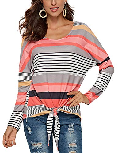 Women Striped Sweater V Neck Front Tie Long Sleeve Loose Tops (V Neck Sweater With Shirt And Tie)