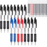 Chuangdi 16 Pieces Black Retractable Gel Ink Rollerball Pens Fine Point Ballpoint Writing Pen and 14 Pieces Replacement Refills for Office Supplies School Home Work