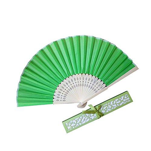 Holzkary Chinese Style Vintage Folding Hand Held Fan/Paper Fan/Feather Fan/Sandalwood Fan/Bamboo Fans for Wedding, Party, Dancing(21cm.Green-A)