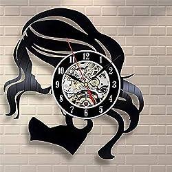 Shuangklei Wall Clock Comb Scissors Hair Dryer Beauty Salon Hairdresser Vinyl Clock Vintage Barber Haircut Wall Art Gift