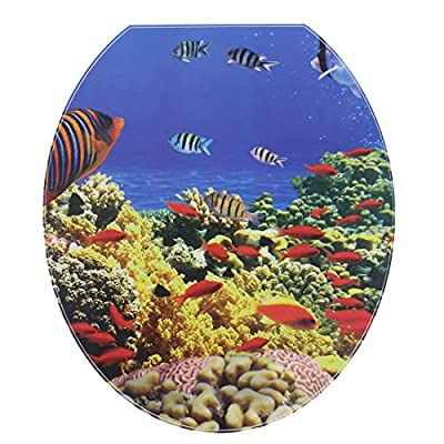 uxcell PVC Marine Fish Pattern Bathroom Removable Water Resistance Toilet Lid Sticker