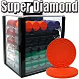 Brybelly 1,000 Ct Super Diamond Poker Set - 8.5g Clay Composite Chips with Acrylic Display Case for Casino Games