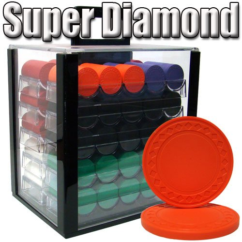 Composite Clay Chips Diamond Poker (Brybelly 1,000 Ct Super Diamond Poker Set - 8.5g Clay Composite Chips with Acrylic Display Case for Casino Games)