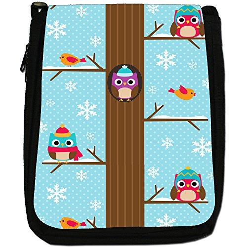 Bag Medium In Winter Tree amp; Shoulder Tops Owls The Black High Canvas Robin Snowflakes Size pFXw1qz
