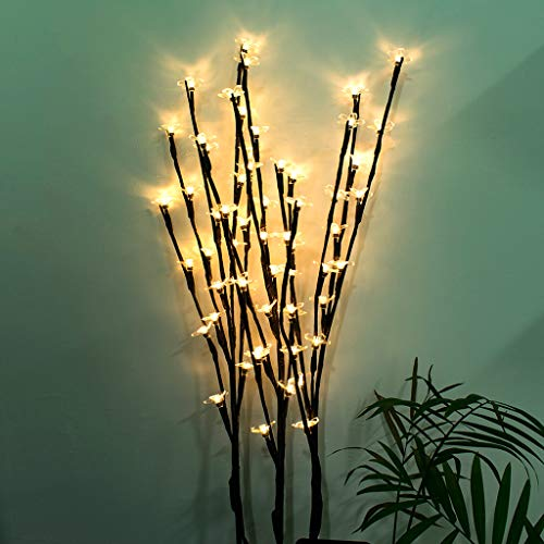 Gotian Stylish Branch Tree Twig Leaf Solar Outdoor Garden 60 Warm White LED Lights 3Pcs - for Party Holiday Bedroom Home Garden Decor (B)