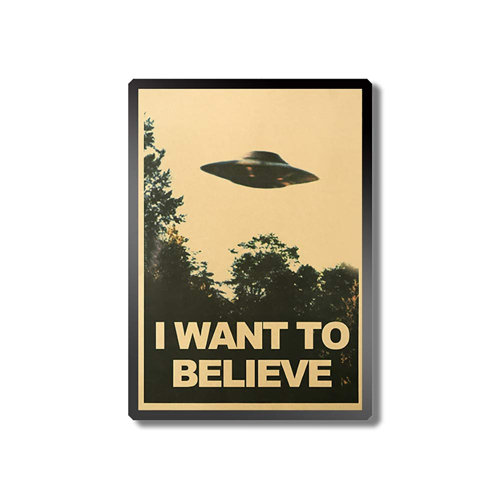Vintage Style,UFO Proverb Pattern,Frameless,Wall Decor 50.5x35cm I Want to Believe Vintage UFO Painting Poster Wall Sticker Home Decor