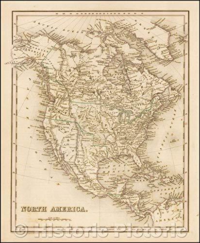 Historic Map | North America [Republic of Texas!], 1841, Thomas Gamaliel Bradford | Vintage Wall Art 24in x ()