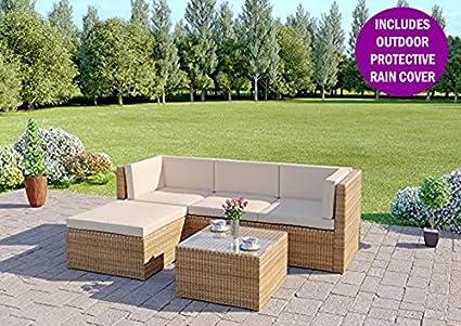 e5813caaf779dc Abreo Rattan Modular Corner Sofa Set Garden Conservatory Furniture 5 To 9  Pcs (Milano