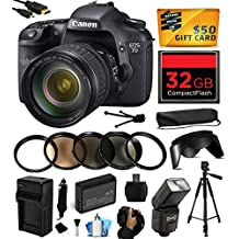 Canon EOS 7D 18 MP CMOS Digital SLR Camera with 28-135mm f/3.5-5.6 IS USM Lens includes 32GB Memory + Flash + Extra Battery + Travel Charger + Lens Hood + UV-CPL-FL-ND4-10x Macro Filters + Card Reader