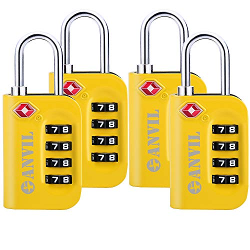 TSA Luggage Locks - 4 Digit Combination Steel Padlocks - Approved Travel Lock For Suitcases & Baggage (YELLOW 4 (Tsa Combination)