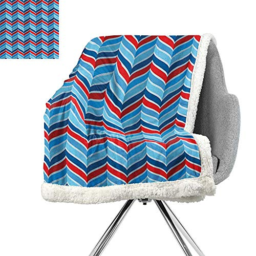 Geometric Decor Collection Light Thermal Blanket,Abstract Pattern Braid Chevron Joyful Curvy Ogee Classical Shape Symmetry Design,Navy Blue Red,Warm Breathable Comforter for Girls Kids Adults