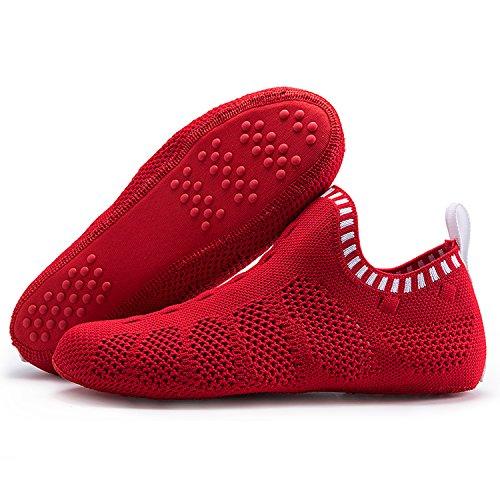 Onemix Mens Womens Sneakers Leggero Traspirante Outdoor Scarpe Da Trekking Calzino-come Sneakers C-bianco / Rosso