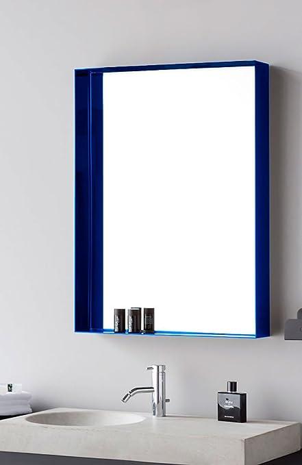 Eco House Neo Espejo con Marco repisa, Cristal, Metacrilato Azul, 13x80x80 cm: Amazon.es: Hogar