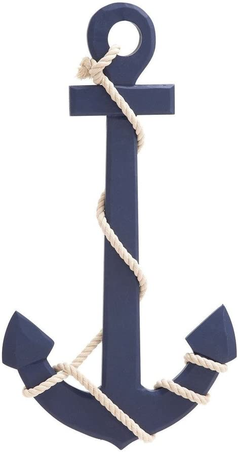 Nagina International Blue Wood Ship Anchor White Rope Wall Art Nautical Sailor Sea Ocean Beach Decor - Home Decor - Pirate Nursery Gift