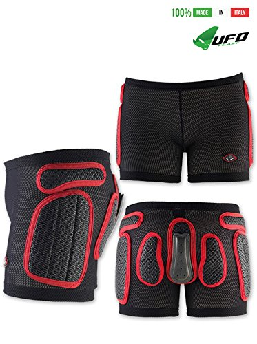 UFO PLAST Made in Italy SK09125 Soft Padded Shorts for Kids / Removable Back Protection / Airnet Material / For: Snowboard, Skateboard, Ski, Skating / Size: S / Color: Black with Red by UFO Plast