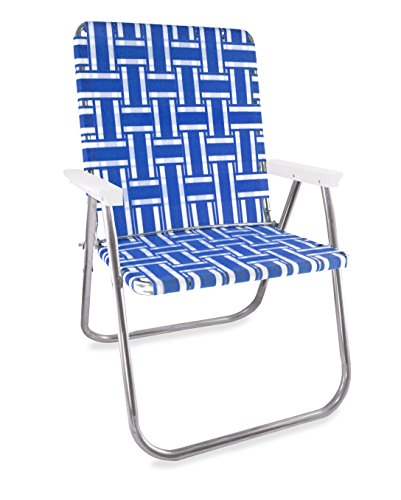 Lawn Chair USA Webbing Chair (Magnum, Blue and White with White Arms) (Lawn Made In Usa Chairs)