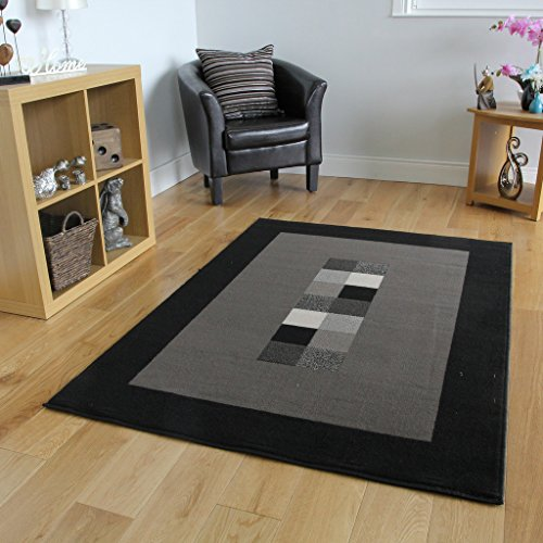 The Rug House Milan Soft Modern Black & Gray Border Rug 777-H51-4′ x 5'6″ For Sale