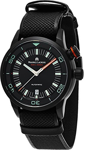 Maurice Lacroix Pontos S Diver Chronograph Mens Watches - 43mm Black Dial Black Leather Band Swiss Automatic Dive Watch For Men PT6248-PVB013-332-2