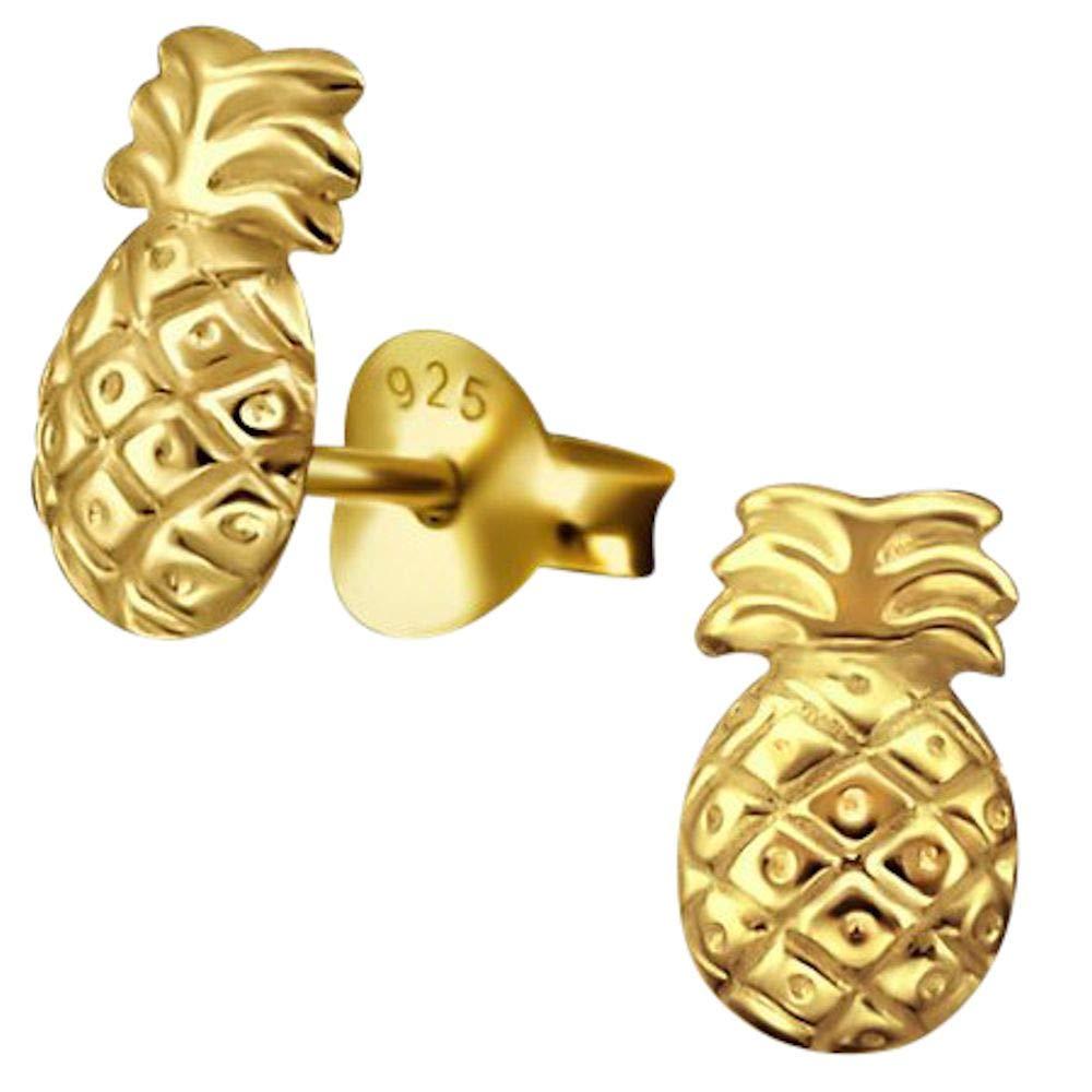 Or Jaune sur Argent So Chic Bijoux /© Boucles doreilles Enfant Ananas Fruit Vermeil