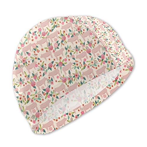 Lxmn Swim Caps for Children,Pigs Florals Farmyard Animals Farms Cream Bathing Caps Swim Hat Kid Sun Hat