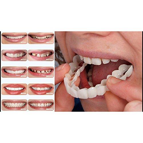 Yiwa Teeth Whitening Teeth Snap Cosmetic Denture False Teeth Easy Wear Oral Care