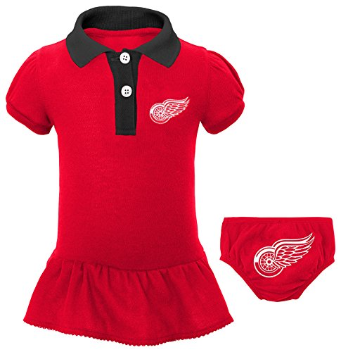 Outerstuff NHL Detroit Red Wings Newborn & Infant Little Prep Polo & Diaper Cover Set, 6-9 Months, Red